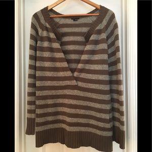 🌿theory Cashmere Tunic w/ pockets Gray Stripe M